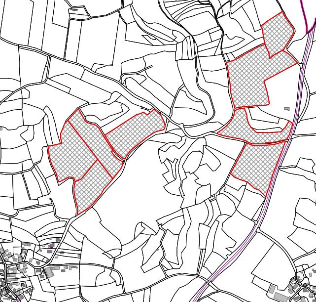 Lageplan der Auslegung zur Freiflächenphotovoltaikanlage Thuisbrunn